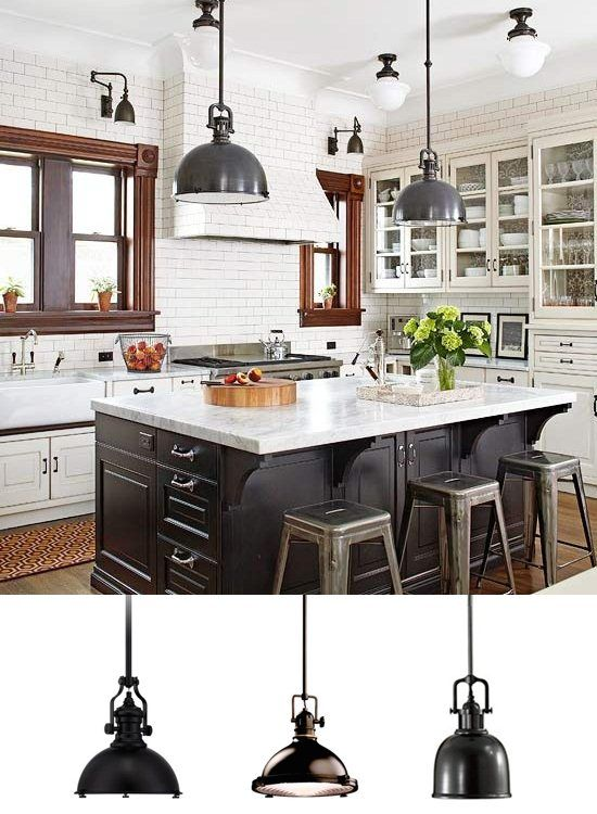 Charming kitchen with black industrial pendant lights