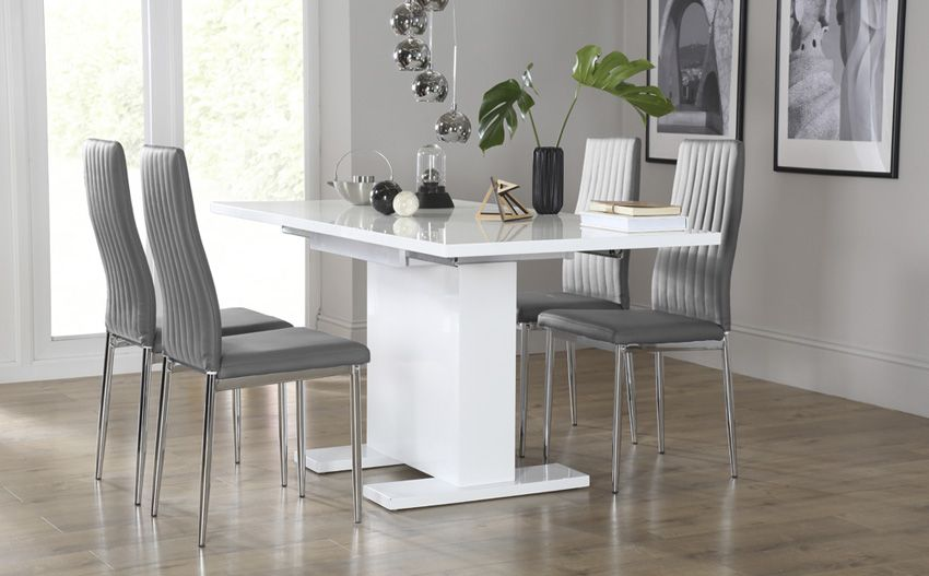 Osaka White High Gloss Extending Dining Table - with 4 Leon Grey