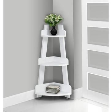 This white corner etagere offers a stylish solution to needing more storage space in your home. Featuring a three tiered design and a bold, modern white finish, use this convenient unit for keeping essential toiletries within reach as you need them or simply to display your favorite decorative...