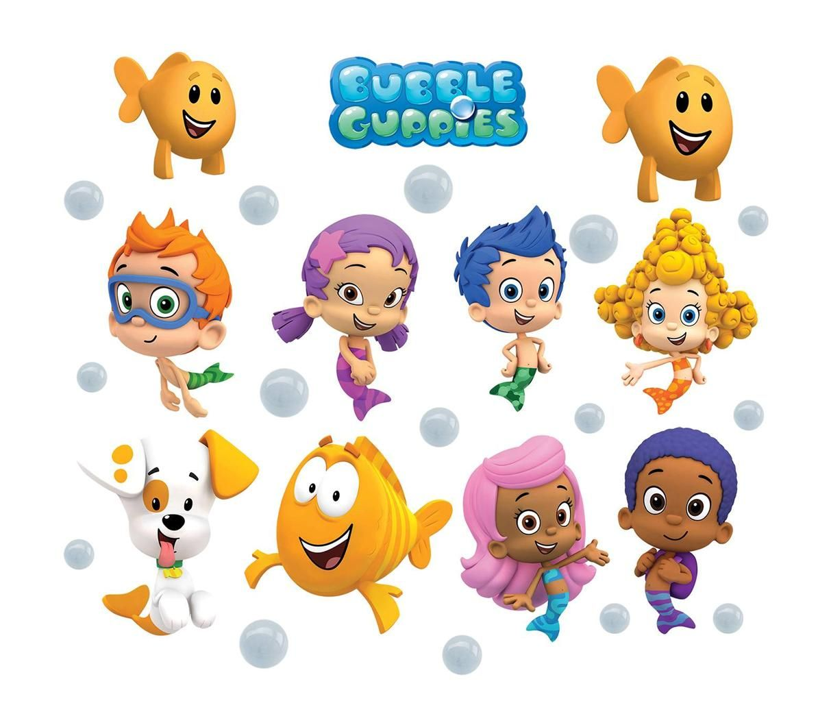 Details about BUBBLE GUPPIES 10 CHARACTERS + LOGO Decal Removable ...