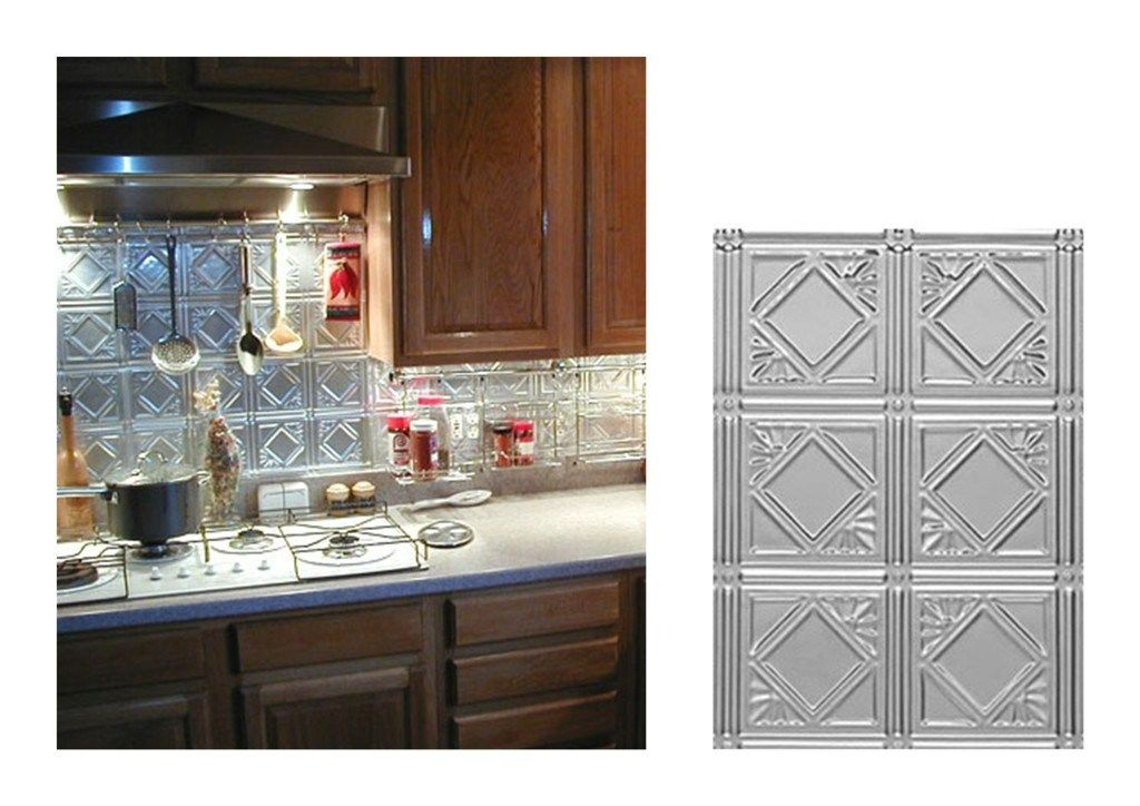 kitchen backsplash ideas decorative tin tiles metal backsplash