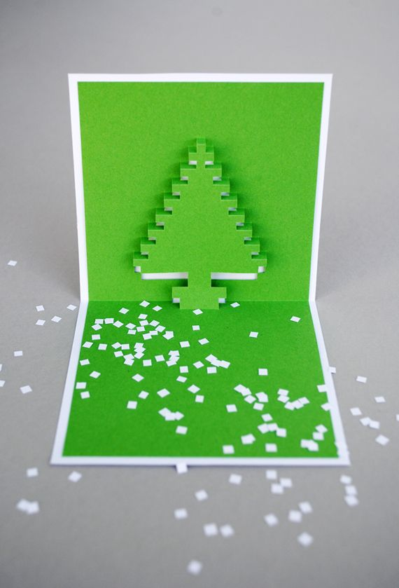 christmas pixel popup cards popup cards and christmas cards. Black Bedroom Furniture Sets. Home Design Ideas