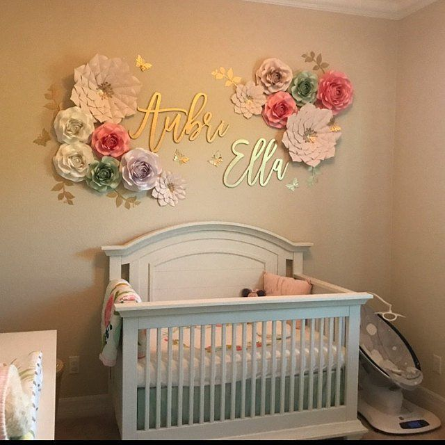 19 Adorable Ideas For Decorating Small Nursery: Nursery PAPER FLOWERS SET. 2 Giant 2 Medium 9 Small