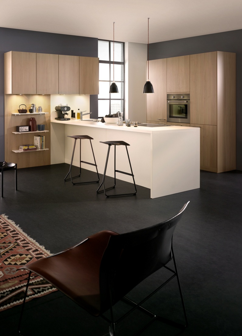 Kochinsel, Kücheninsel, Holzküche, Holzschrank, Weiße Kochinsel, Barhocker,  Sitztheke, Modern