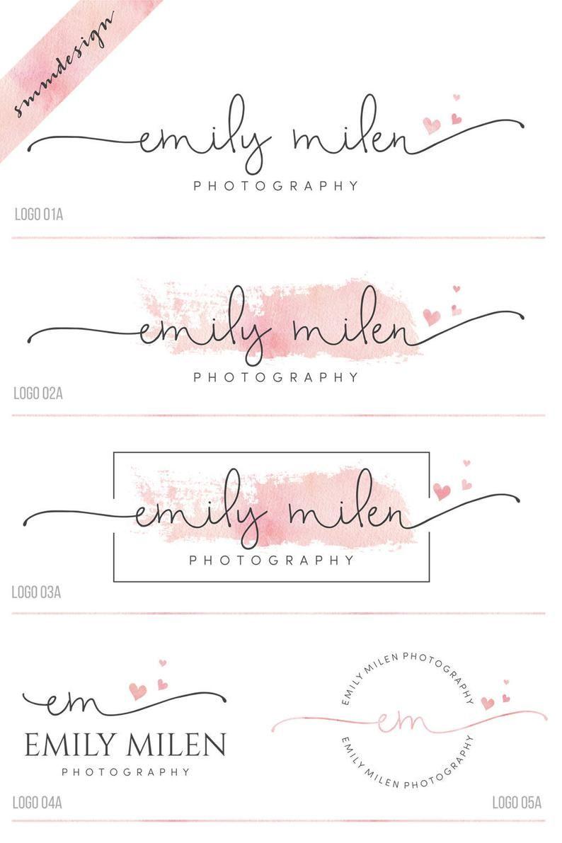 Kit de marca prefabricado, logotipo de corazón y marca de agua, logotipo de fotografía, diseño de logotipo de script, logotipo de la boda, logotipo de acuarela, sello de logotipo de negocio, 38