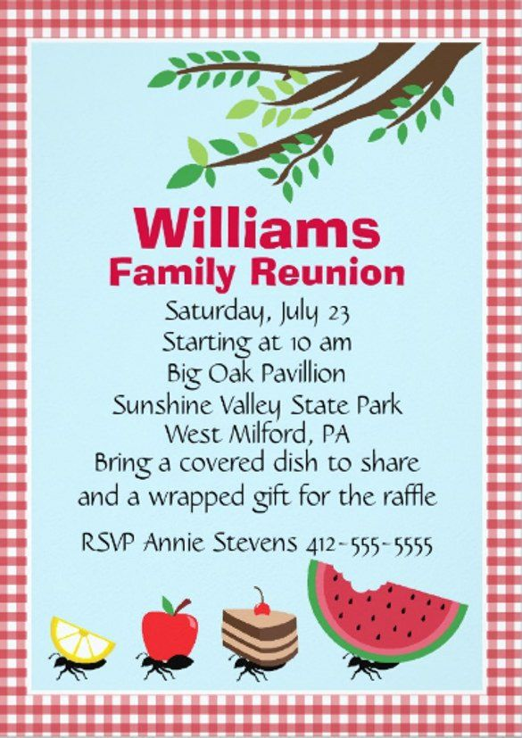 30 Family Reunion Invitations Templates in 2020 Family