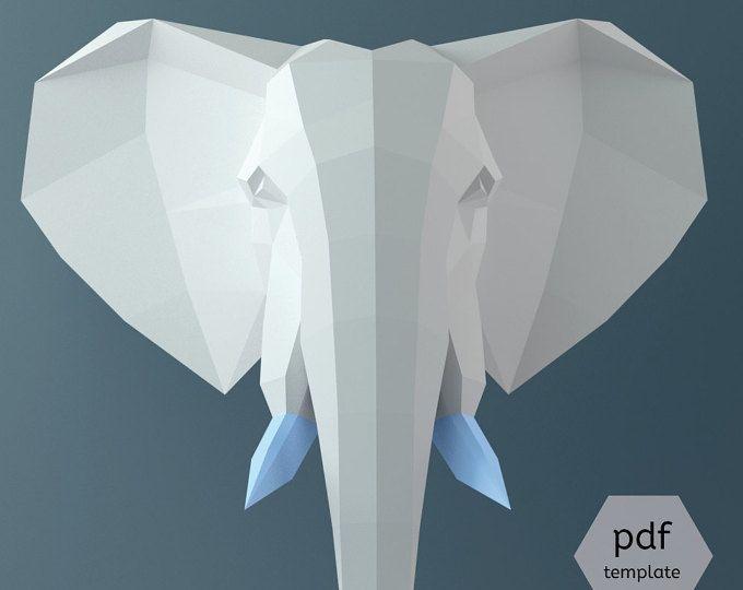 Big Elephant Head 3d Papercraft 3d Template Wall Sculpture Decor Paper Pachyderm Baby Shower Elephant C Paper Crafts Origami Paper Crafts 3d Paper Crafts