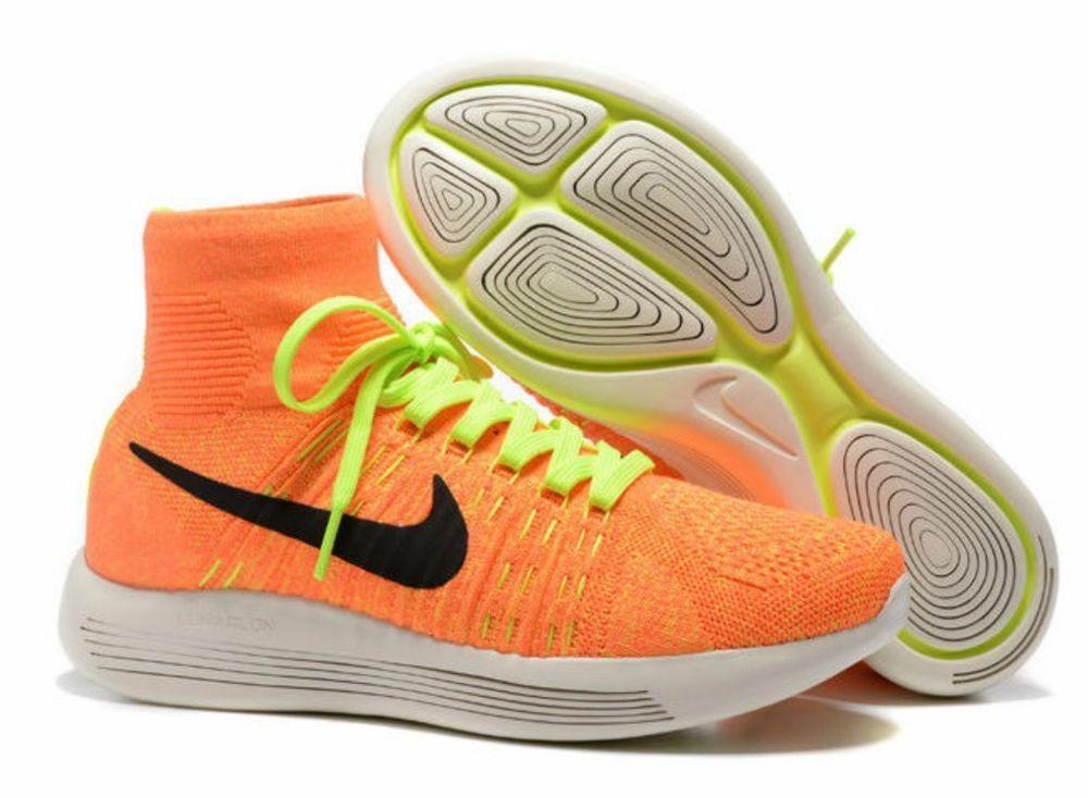 New Nike Women's Lunarepic Flyknit Running Shoes Yellow/ Black/ Orange Size 7.5
