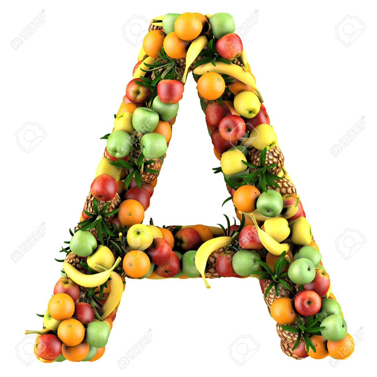 Letter   A Made Of Fruits. Isolated On A White.