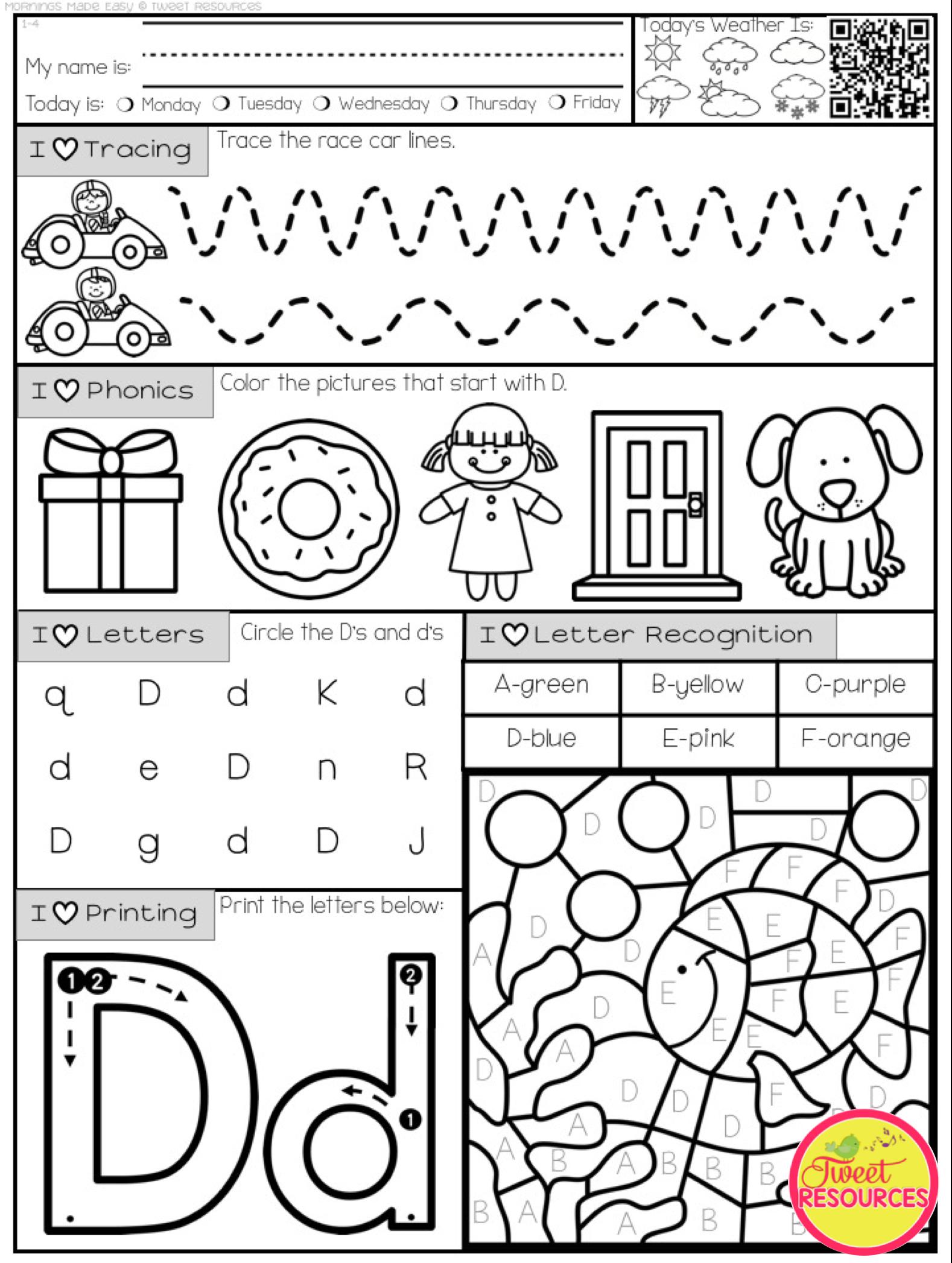 Mornings Made Easy Kindergarten Morning Work By Tweet