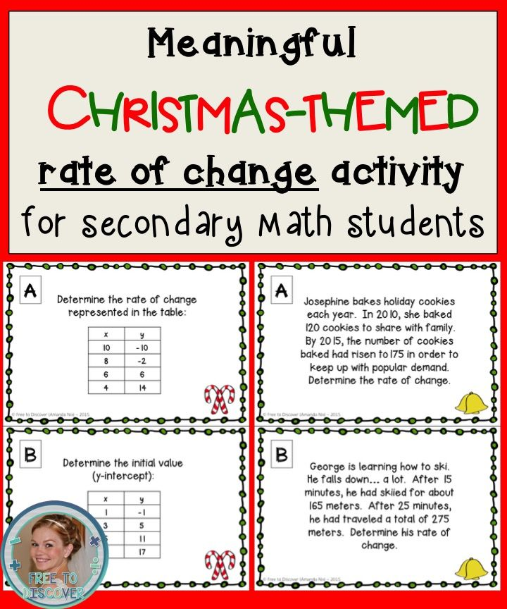 Christmas Math Activity Rate Of Change And Initial Value Linear