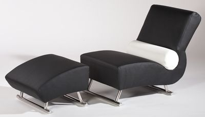 Chintaly Deville Black Lounge Chair with Ottoman - click to enlarge