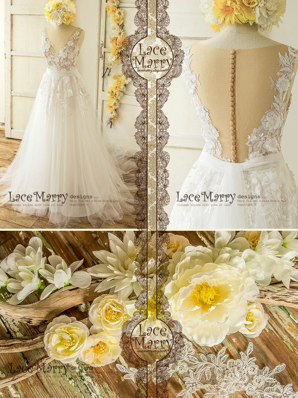 D lace boho wedding dress with sheer nude top in vcut shape back