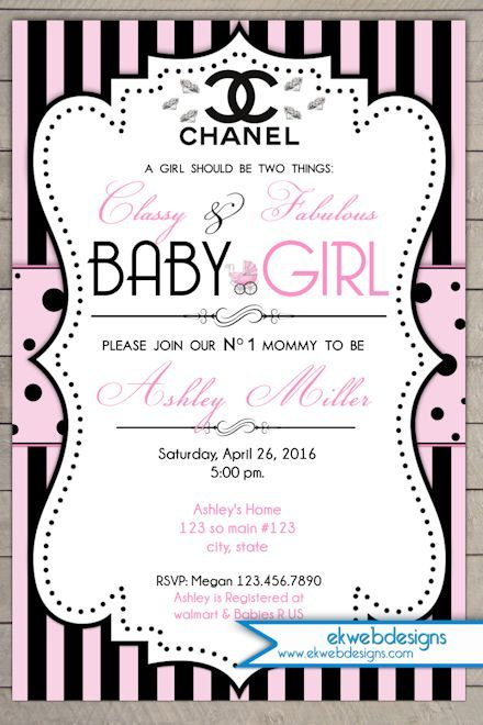 Coco Chanel Baby Shower Invitation Parisian Inspired Baby Shower