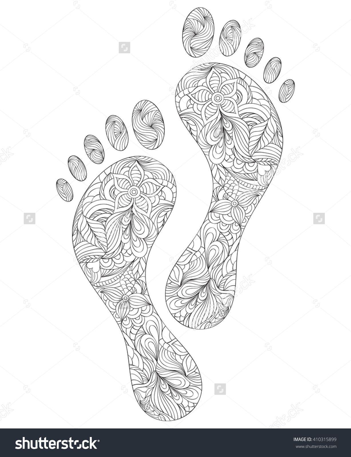 Vector Illustration Floral Human Footprints On Stock Vector (Royalty Free) 410315899