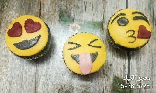 كب كيك سمايلي فيس بعجينة السكر Smily Face Fondant Cupcake Sugar Cookie Sugar Desserts