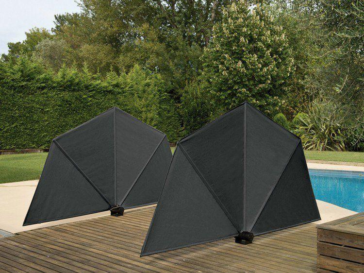 brise-vue rétractable design en forme d\'éventail en noir, piscine ...