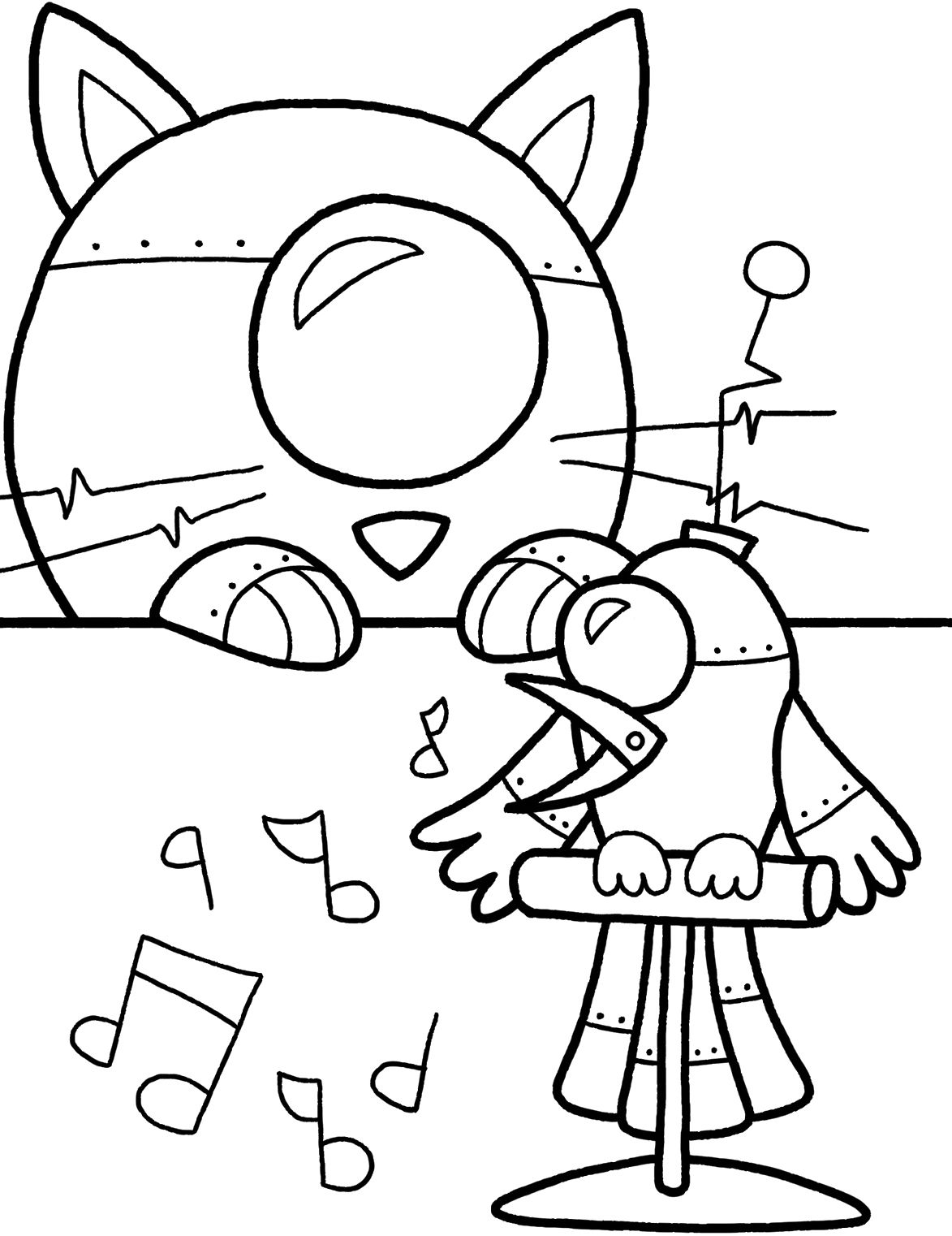 Coloring pictures robot - Bird Singing Robot Coloring Pages Coloring Pages Printables