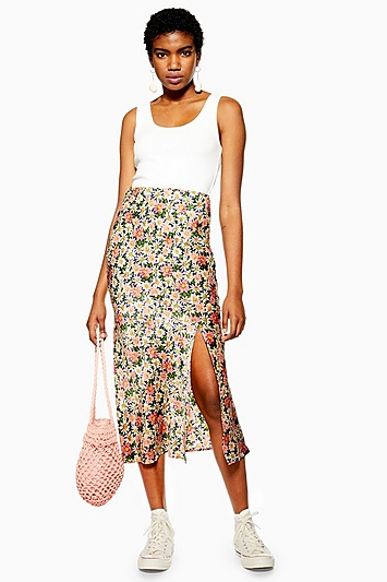 a54195cf70cb Womens Daisy Floral Satin Bias Midi Skirt - Multi in 2019 | Products ...