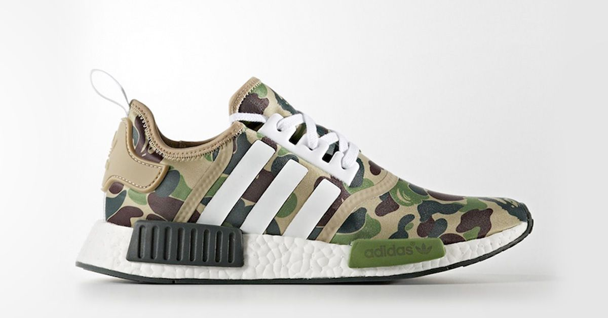 Adidas Green X Nmd Camo Sneakers R1 Bape Shoes z57In