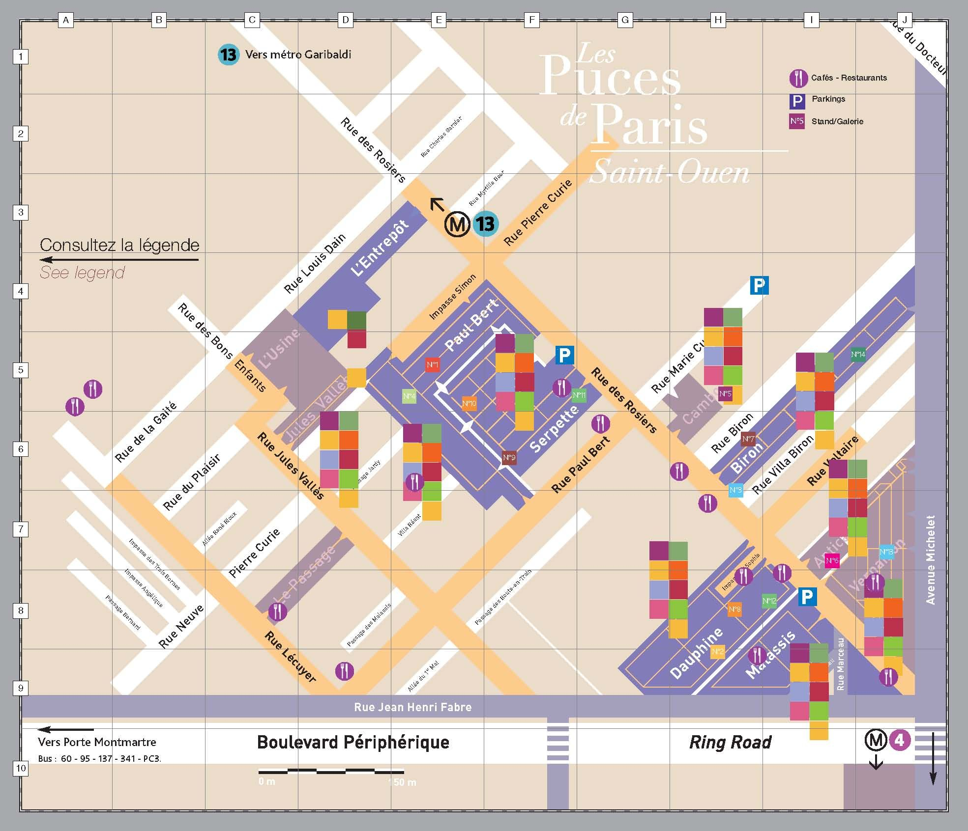 Map of Paris Flea Markets