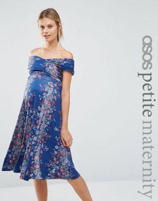 3780804baf983 ASOS Maternity PETITE Twist off Shoulder Skater Midi Dress in Vintage Floral