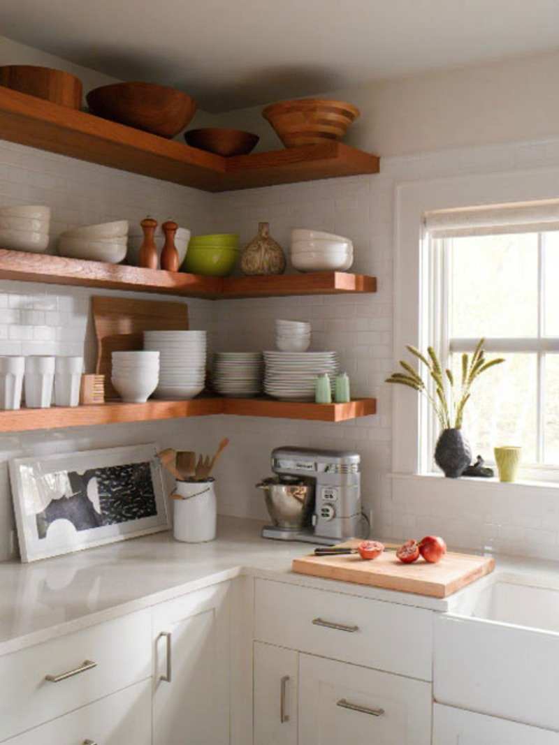 15 Ways To Diy Creative Corner Shelves In 2020 Kitchen Design Small Open Kitchen Shelves Kitchen Remodel Small