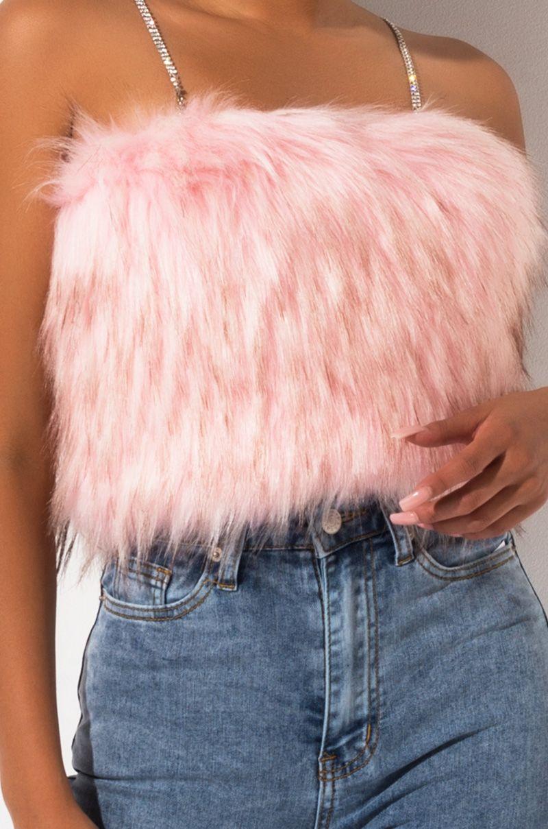 Pink faux fur top Festival rave furry MIMI Pink cotton crochet top