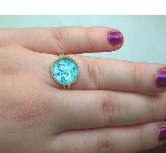Green Glitter Ring sparkle ring glitter ring by Glitterperlen