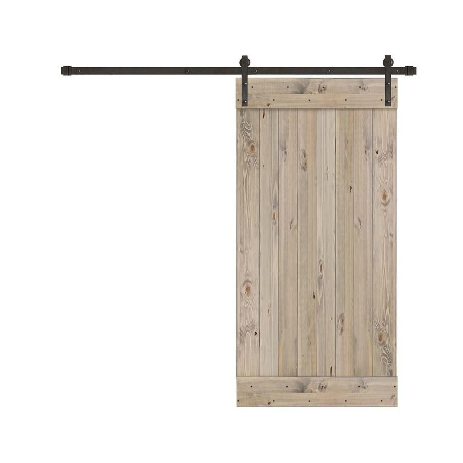 Creative Entryways Sliding Barn Door Weathered Gray Stained 1 Panel Wood Pine Barn Door Hardware Included Common 34 In In 2020 Barn Door Hardware Weathered Grey Stain Entryway