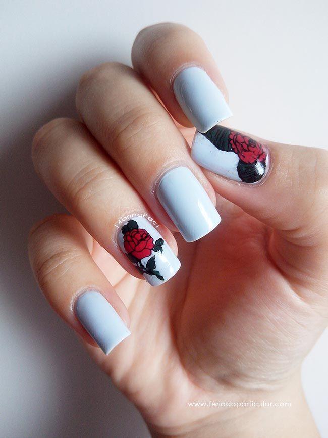 Learn how to do it! #DIY  Tutorial de NailArt com a Marina lá no blog: http://feriadoparticular.com/2015/02/nail-art-rosa-carimbada-preenchida.html  #NailArt #Nails #Tutorial