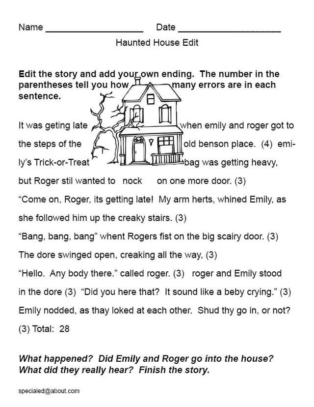 halloween edits and story starters the haunted house a printable edit and story - Halloween Short Stories Middle School
