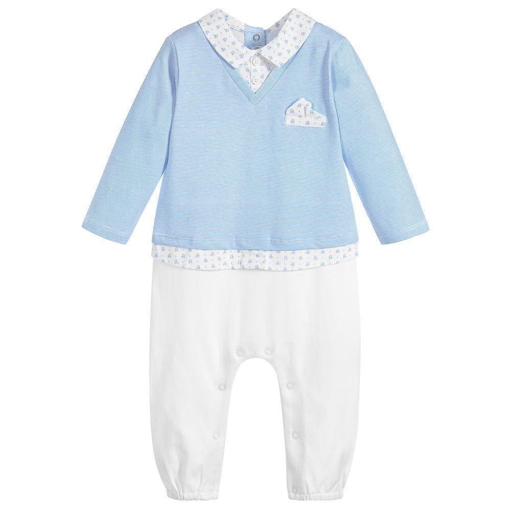 214e5ffff3b0 Boys Blue Cotton Babygrow