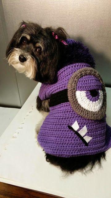 Handlingit Creations Evil Minion Crochet Dog Sweater