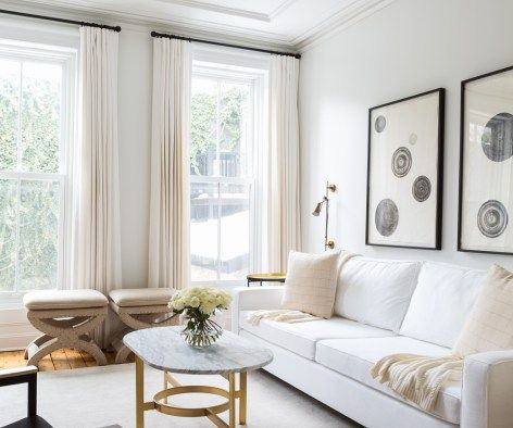 A A Chic Neutral Living Room With A White Beige Cream Gray And