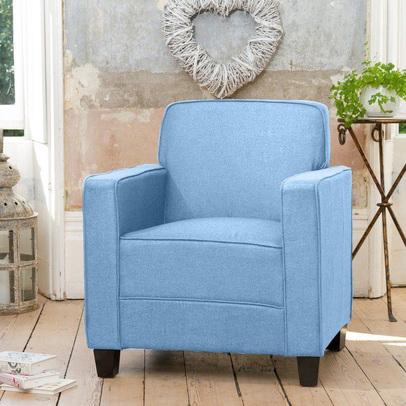 Light Blue Armchair Fabric Foam Square Arm Solid Wood Living Room Wood  Furniture