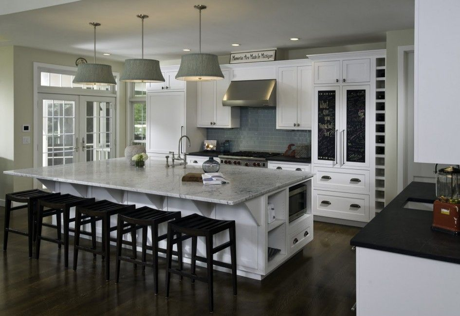 Fantastic Kitchen Plans With Large Island And Decorative Drum Pendant Lighting Also Wolf Under Cabinet Range Hood Six Burner Gas Cooktop From