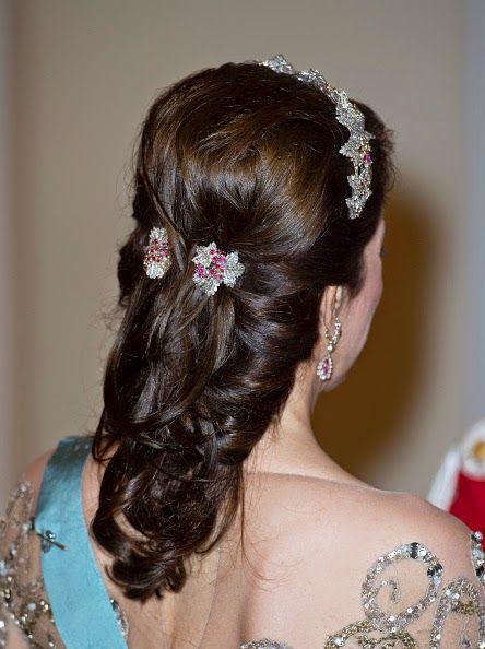 Crown Princess Mary of Denmark hair detail Festivities For The 75th Birthday Of Queen Margrethe II Of Denmark on April 15, 2015 in Copenhagen, Denmark
