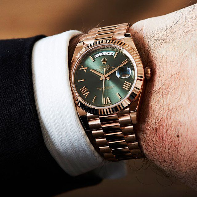 Rolex Day,Date President Rose Gold Green Roman 228235