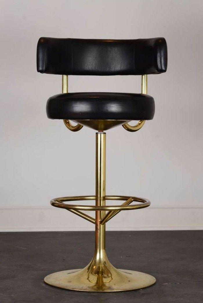chaise de bar haute dore metal acier peau noir siege