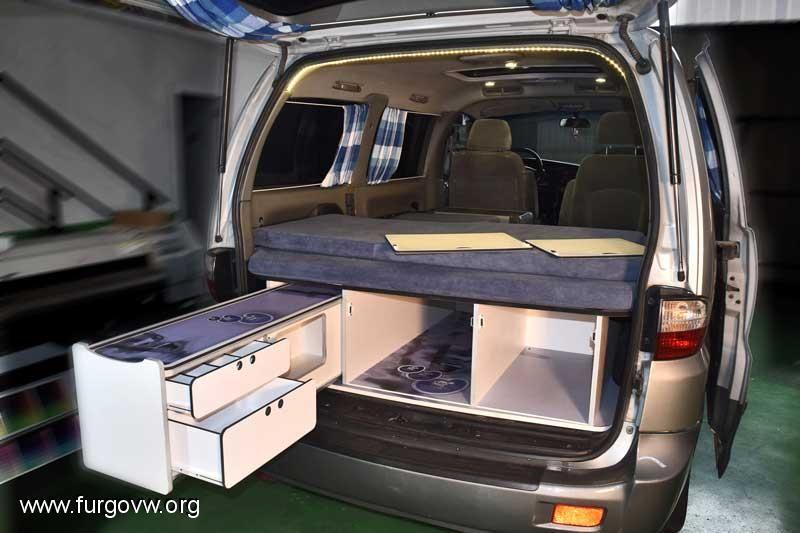 Maleteros extra bles bandeja bastidor caj n for Muebles furgoneta camper