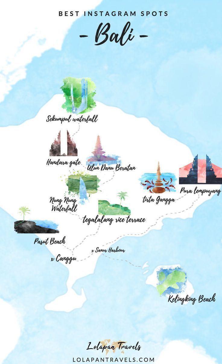 Eine Bali Karte Fur Die Besten Instagram Spots In Bali Indonesien Map Bali In 2020 Bali Indonesien Bali Flitterwochen Indonesien