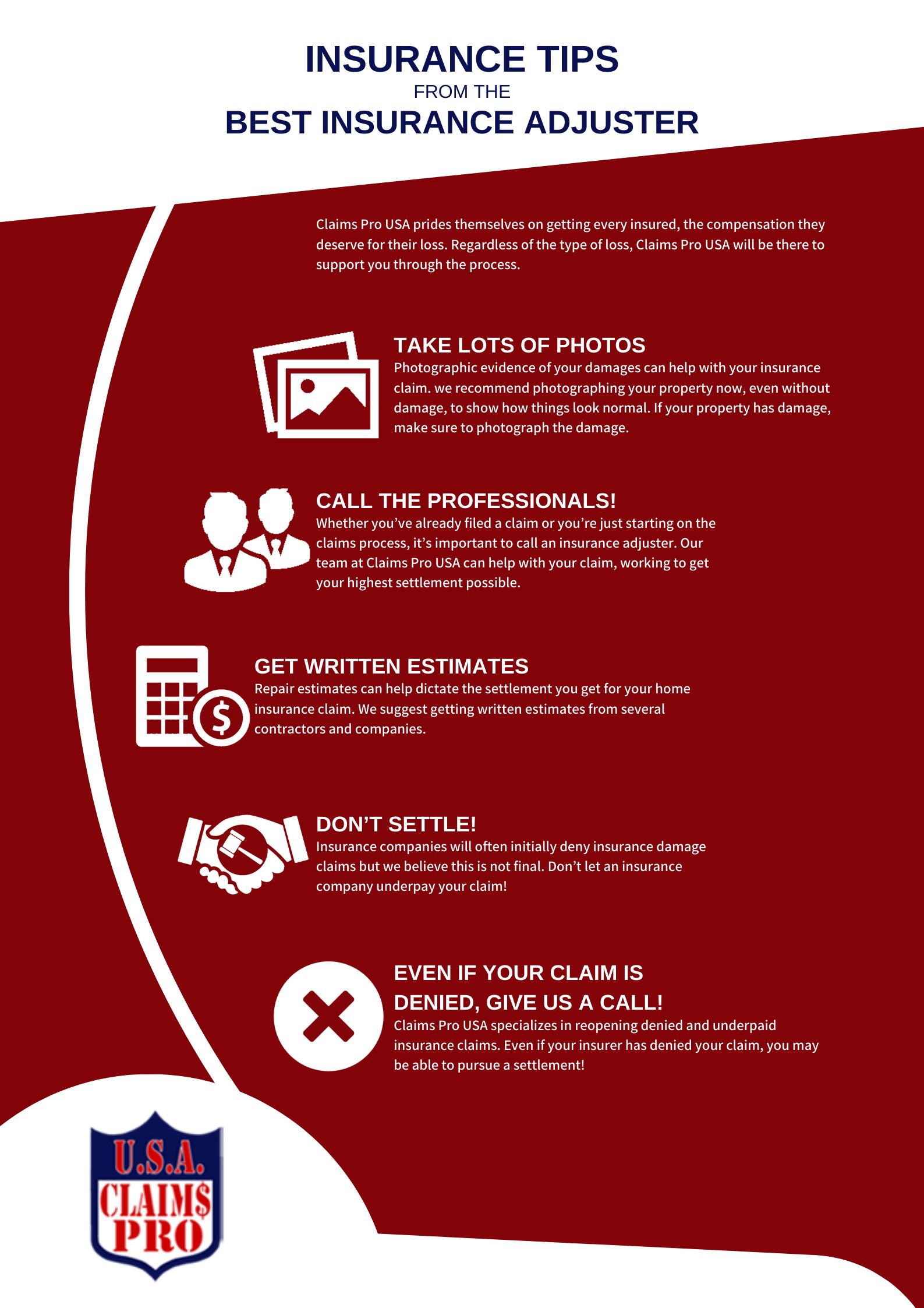 Infograph Insurance Tips From The Best Insurance Adjuster Best Insurance Online Communication Commercial Insurance