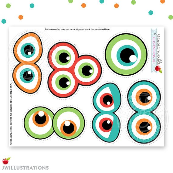 monster eyes cute printable birthday party favors printable rh pinterest co uk monster with no eyes clipart monster eyes clipart