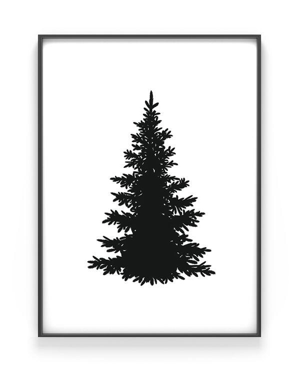Kerstboom Silhouet Poster Kerst Poster Zwart Wit Kerstposter Kerst Kerstboom