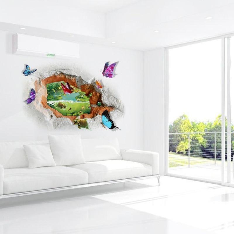 3d Loch Schmetterling Wandaufkleber Wandtattoo Aufkleber Fur