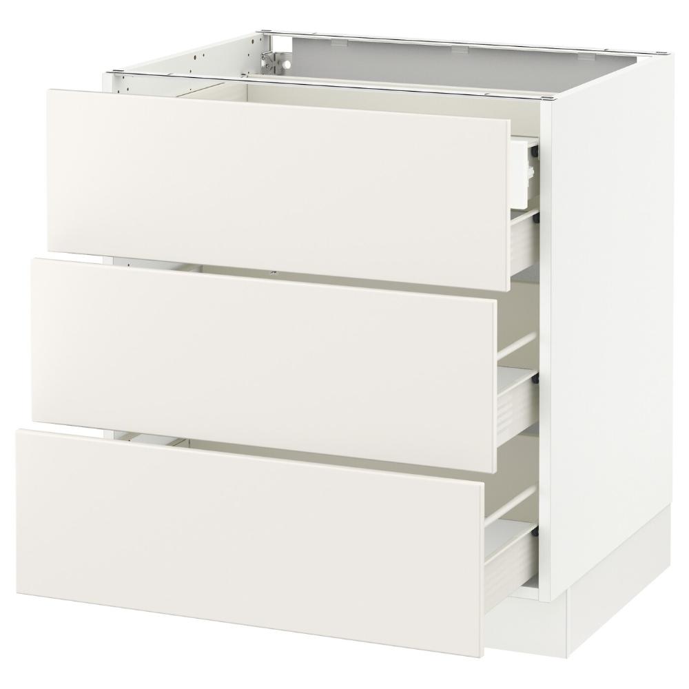 SEKTION Base w/3 fronts & 4 drawers, white Förvara
