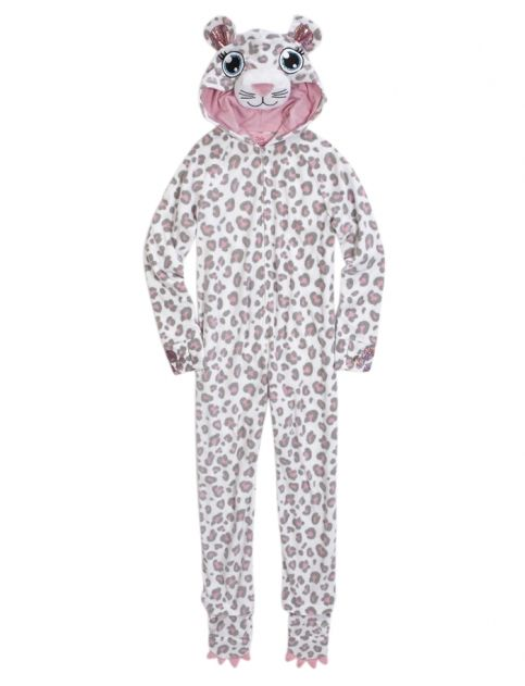 857c0331f8e2 Snow Leopard Fleece Pajama with Removable Footies