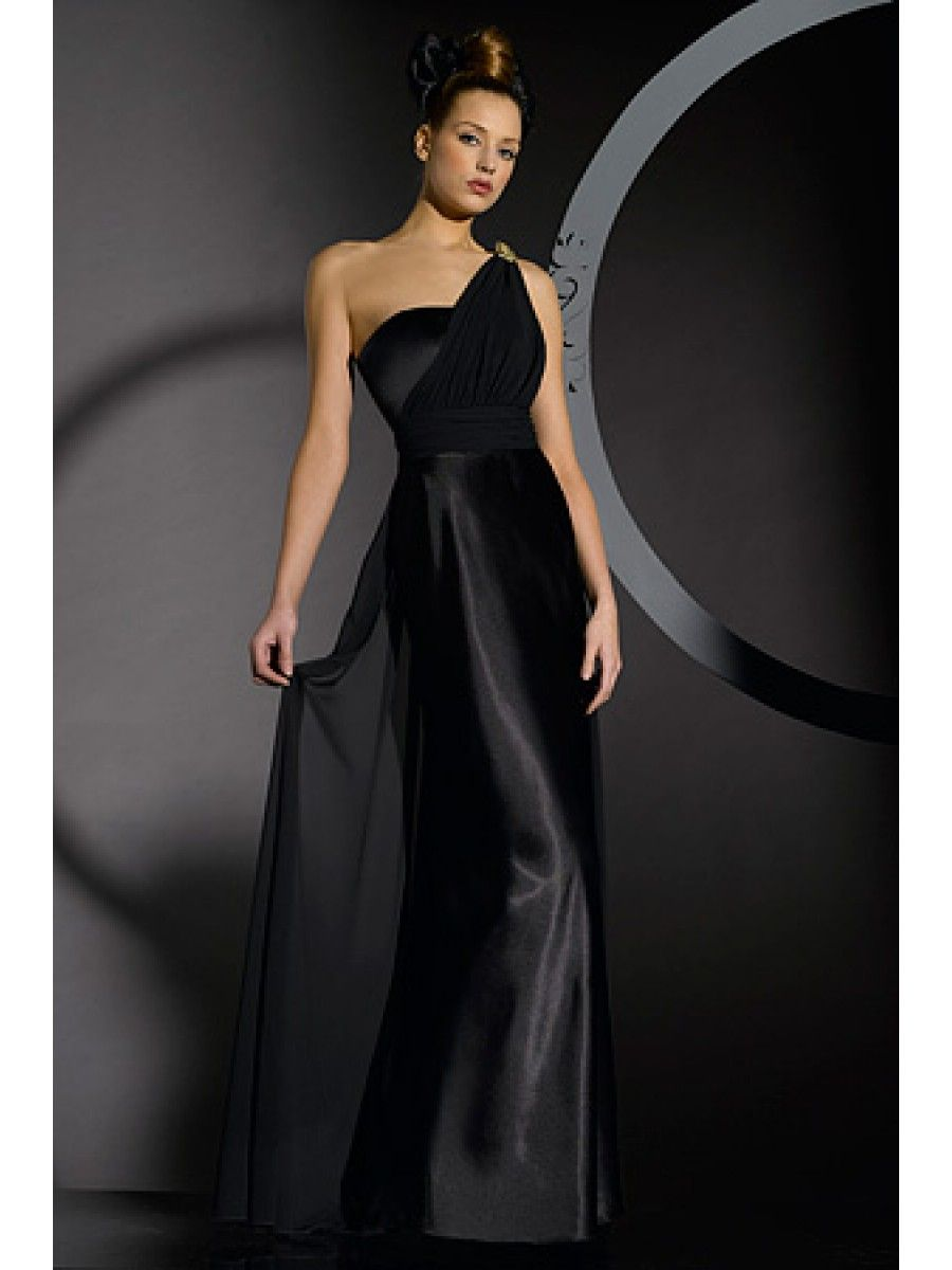 Inexpensive Long Black Chiffon Satin Bridesmaid Dresses Evening ...