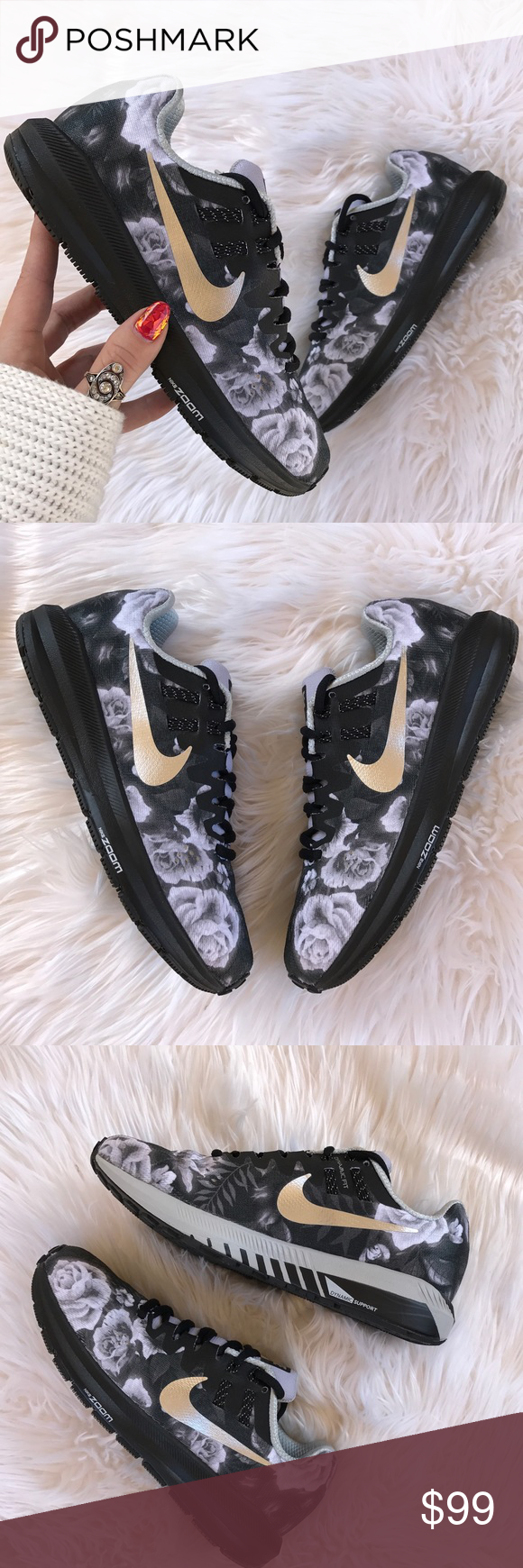 NWT Nike ID custom zoom floral silver swoosh Brand new no box!price is firm